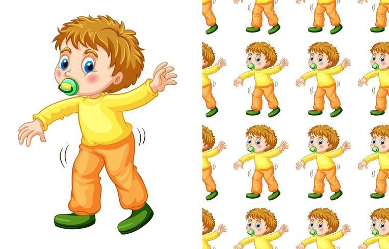 Modello senza cuciture del ragazzo con la camminata della tettarella