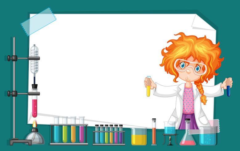 Kaderontwerp met meisje die in wetenschapslaboratorium werken