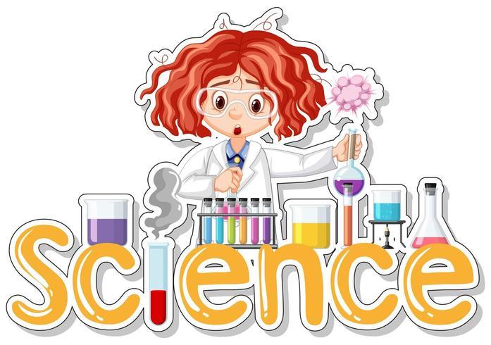 Klistermärkedesign med forskaren som gör experiment och ordet Science