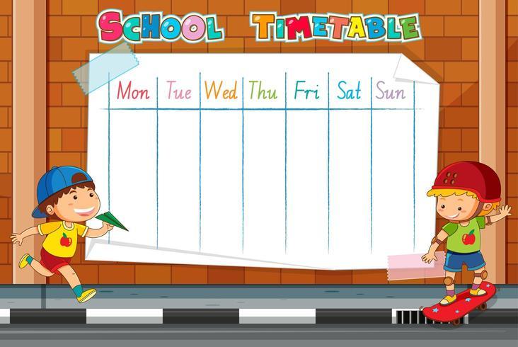 Modello dell'orario della scuola sul muro di mattoni vettore