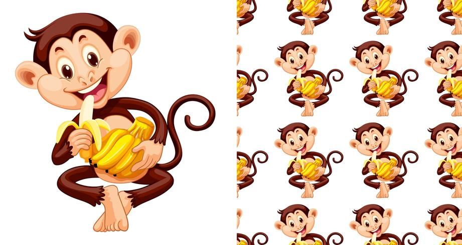 Mono transparente y aislado comiendo dibujos animados de patrón de plátano vector