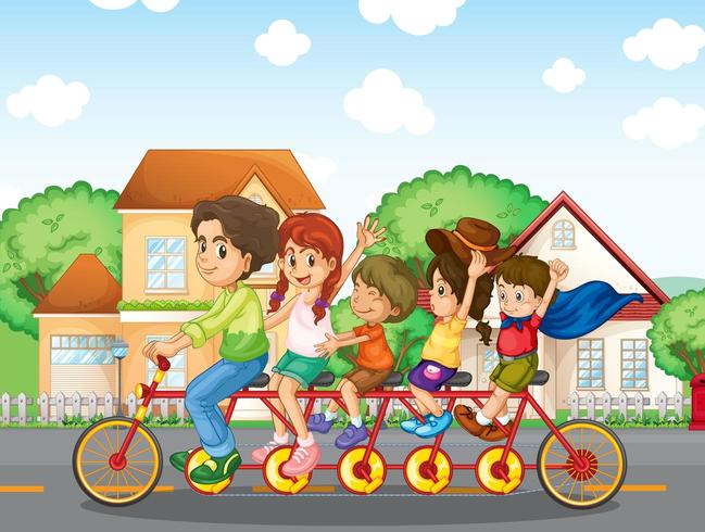 A family biking together