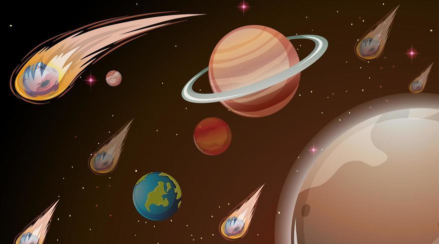 Planeten in ruimtescène