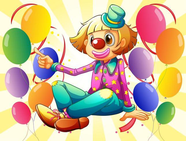 Um palhaço feminino sentado no meio dos balões