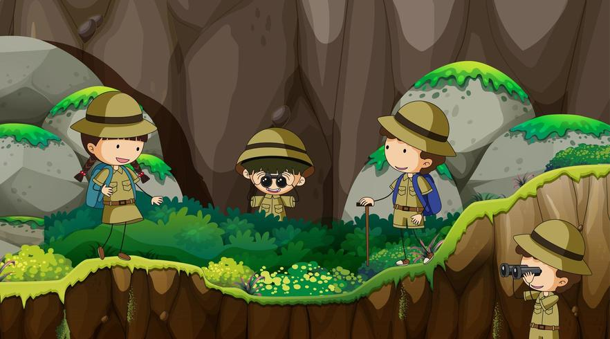 scout kids exploring nature