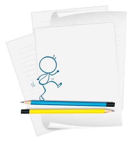 Un papel con un dibujo de una persona caminando sobre lápiz vector