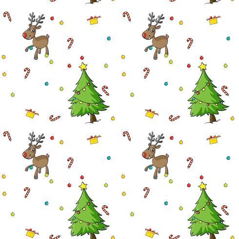 Nahtloses Weihnachtsmuster mit Bäumen und Ren
