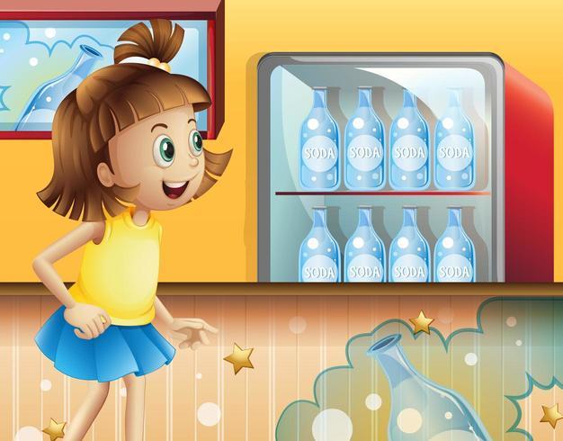 Een gelukkig jong meisje in de winkel die frisdranken verkoopt