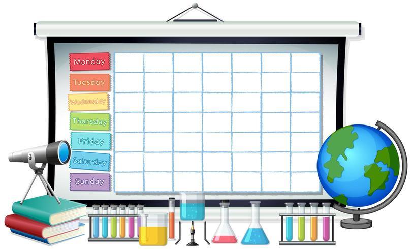 Modello di orario scolastico con tema scientifico vettore