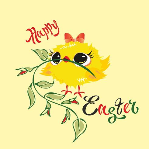 Happy Easter. Chick. Holiday card. Vector illustration.