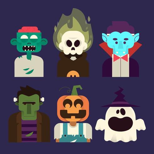 Conjunto de caracteres de Halloween vector