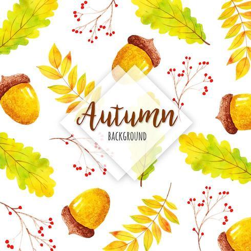 Beautiful Watercolor Autumn Leaves