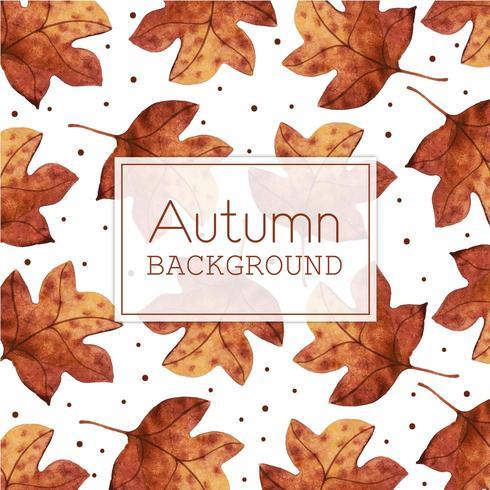 Fundo de folhas de outono aquarela bonita