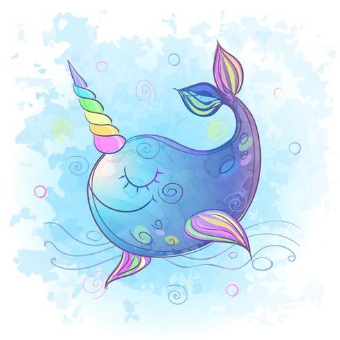 Cute fabulous unicorn whale. Watercolor. Vector illustration