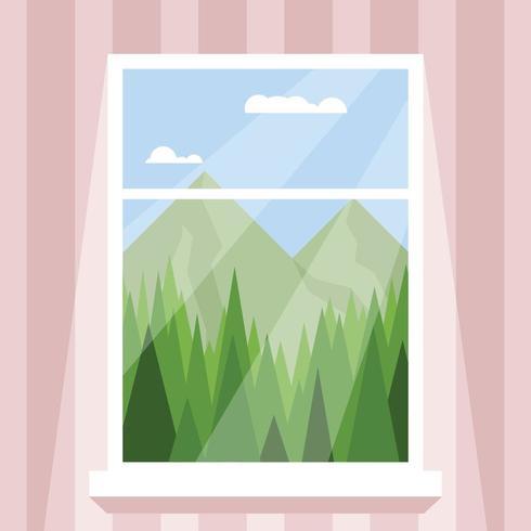 Finestra che guarda verso le montagne