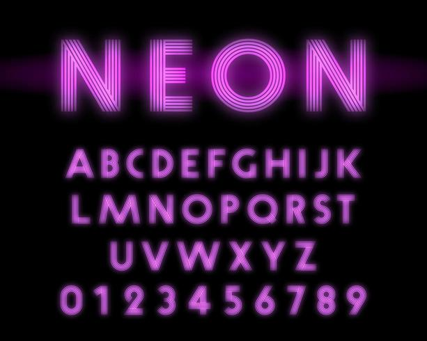 Retro neon alphabet font. Letters and numbers line design vector