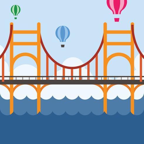 Hot air balloons over bridge