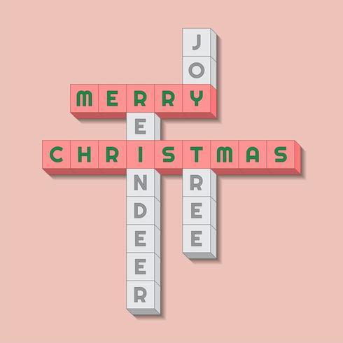 Joyeux Noël avec un vocabulaire pertinent dans le style des mots croisés