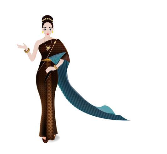 donne tailandesi in vestito tradizionale tailandese