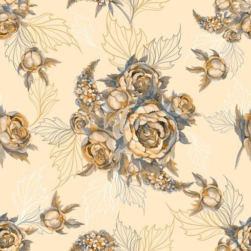 Patrón transparente floral Ramo de rosas peonías y lilas. vector