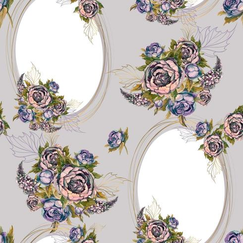 Seamless pattern with gold frames and bouquets of flowers vector
