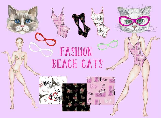Chats de plage à la mode. Ensemble d'éléments pour la conception.