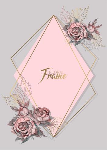 Invito a nozze cornice geometrica con fiori ad acquerelli vettore