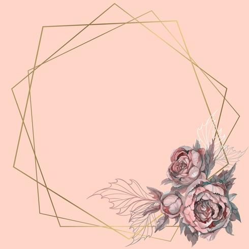 Gold geometric frame with a bouquet of flowers.