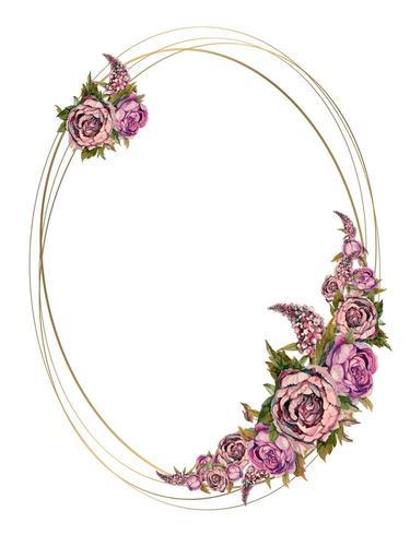 Cornice di nozze con ghirlande acquerellate di peonie di rose e lillà. vettore