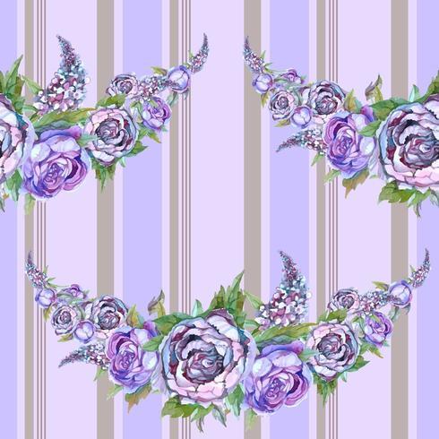 Aquarell Muster. Girlande aus Blumen.