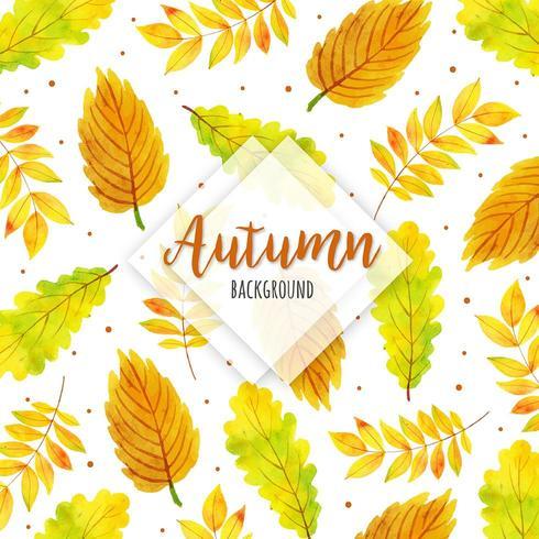 Folhas de outono fundo aquarela vetor