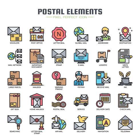 Elementos postais cor fina linha ícones vetor