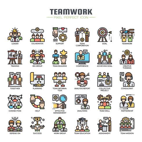 Iconos de línea fina de trabajo en equipo vector