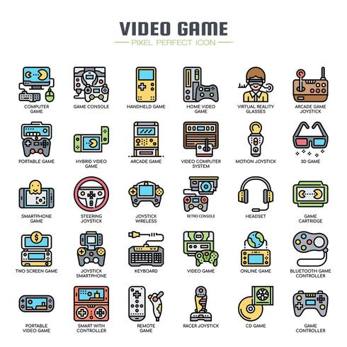 Video Games Thin Line Icons