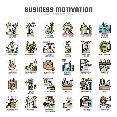 Iconos de color de línea fina de motivación empresarial