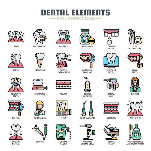 Dental Elements Thin Line Icons de couleur vecteur