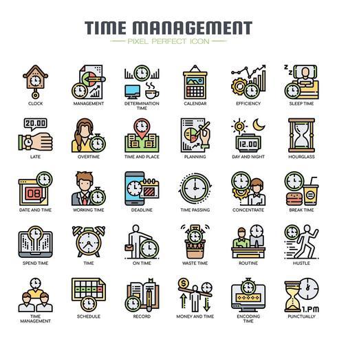 Iconos de delgada línea de gestión de tiempo vector