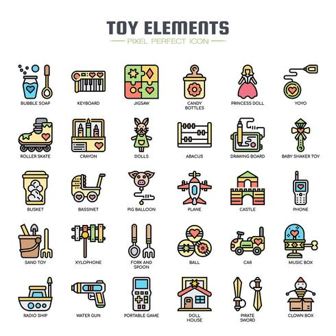 Toy Elements Thin Line Color Icons vector
