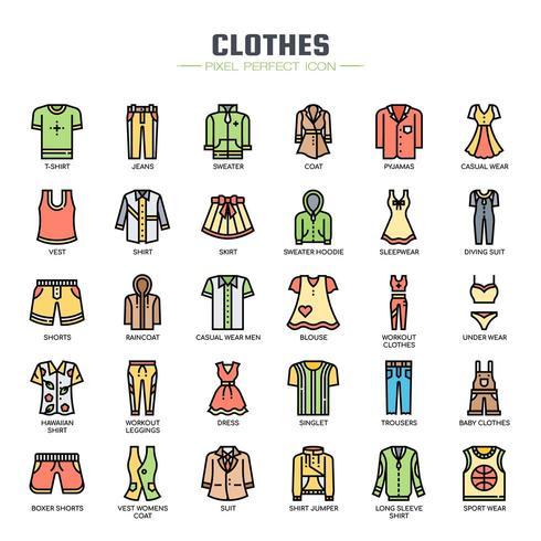 Iconos de línea fina de ropa vector
