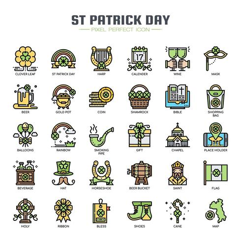 Iconos de colores de línea fina del día de San Patricio vector