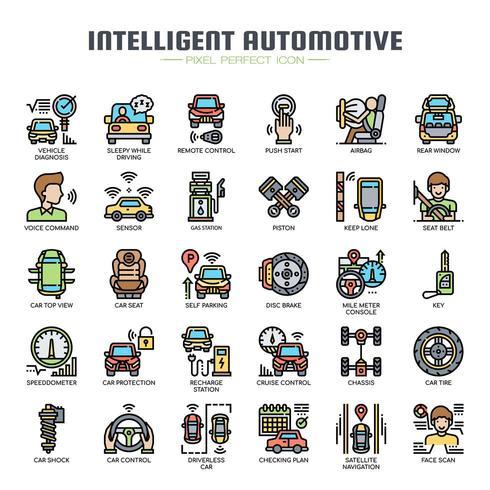 Intelligente automotive dunne lijn pictogrammen