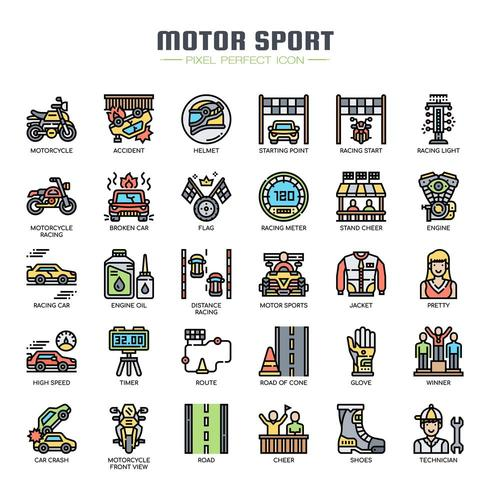 Motor Sport Thin Line Color Icons