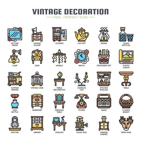 Iconos de colores de línea fina de decoración vintage vector