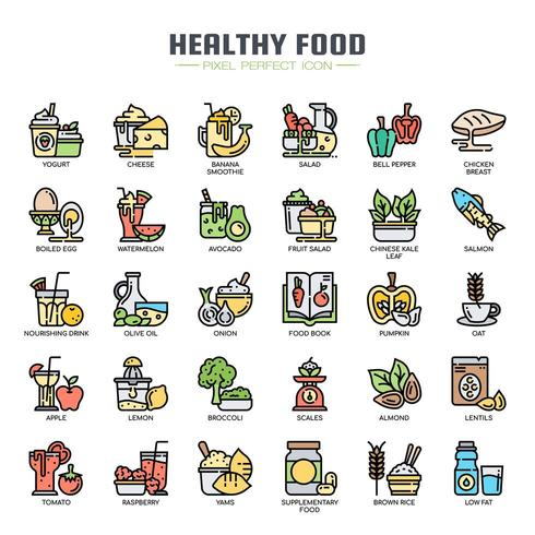 Healthy Food Thin Line  Icons vector
