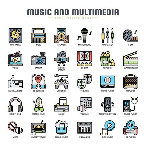 Music and Multimedia Thin Line Icons