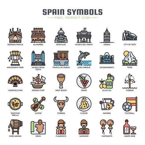 Spanien Symbole dünne Linie Icons