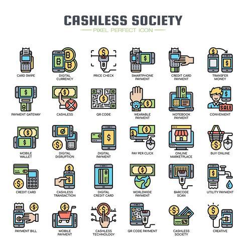 Iconos de línea fina de sociedad sin efectivo