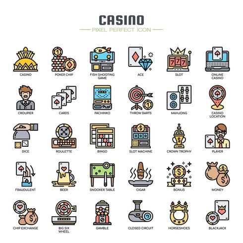 Casino Elements Thin Line Icons