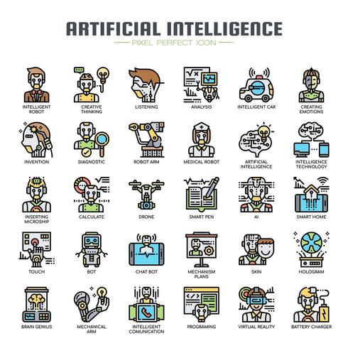Intelligence Artificielle Thin Line Icons