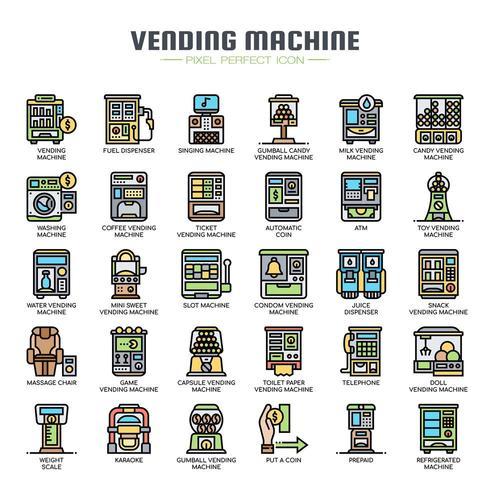 Icone di linea sottile distributore automatico